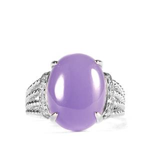 Purple Jade & White Topaz Sterling Silver Ring ATGW 11.82cts