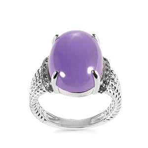 Purple Jade Ring with White Topaz in Sterling Silver 11.82cts