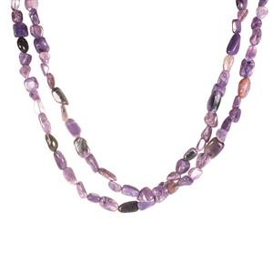 180ct Charoite Sterling Silver 2 Strand Necklace