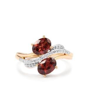 Zanzibar Zircon & Diamond 18K Gold Tomas Rae Ring MTGW 2.29cts