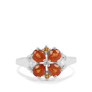 Mandarin Garnet, Diamantina Citrine & White Zircon Sterling Silver Ring ATGW 2.22cts