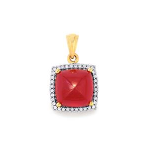 Malagasy Ruby Pendant with White Zircon in 10k Gold 10.51cts (F)