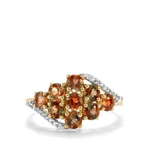 Sopa Andalusite & White Zircon 9K Gold Ring ATGW 1.70cts
