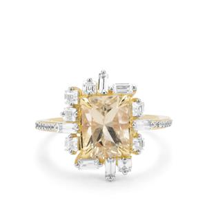 Serenite & White Zircon 9K Gold Ring ATGW 3.16cts