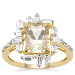 Serenite Ring with White Zircon in 9K Gold 3.16cts