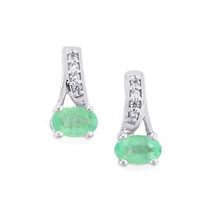 Siberian Emerald Earrings with White Sapphire in 10k White Gold 0.49cts