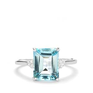 Sky Blue Topaz & White Zircon Sterling Silver Ring ATGW 4.08cts