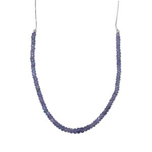 31ct Tanzanite Sterling Silver Slider Graduated Bead Necklace
