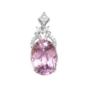 Kolum Kunzite Pendant with Diamond in Platinum 950 11.63cts