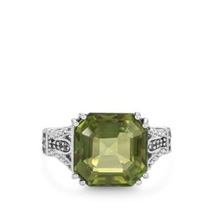 Fern Green Quartz Ring with White Topaz in Sterling Silver 6.79cts