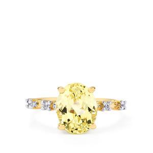 Canary Kunzite & Ceylon White Sapphire 9K Gold Ring ATGW 3.76cts