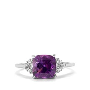 Moroccan Amethyst & White Topaz Sterling Silver Ring ATGW 2.12cts