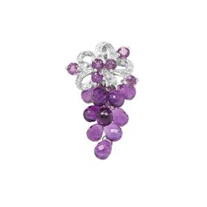 Zambian Amethyst Pendant With White Zircon in Sterling Silver 6.57cts