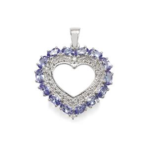 Tanzanite Pendant with White Zircon in Sterling Silver 2.87cts