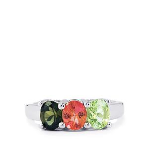 1.80ct Rainbow Tourmaline Sterling Silver Ring