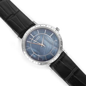 Diamond and Mother of Pearl Stainless Steel Watch with Black Leather Strap