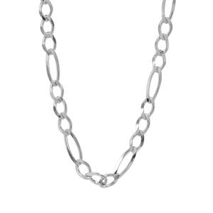 "26"" Sterling Silver Couture Diamond Cut Figaro Chain 4.14g"