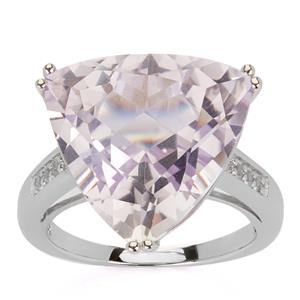 Rose De France Amethyst & White Topaz Sterling Silver Ring ATGW 12.64cts