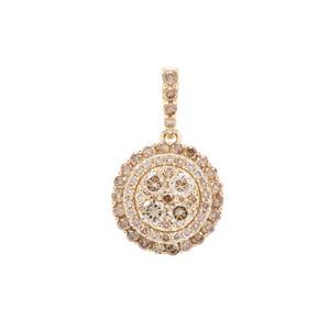Cape Champagne Diamond Pendant in 9K Gold 1.50cts