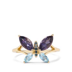 Bengal Iolite, Sky Blue Topaz & Blue Diamond 9K Gold Ring ATGW 1.34cts