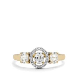 1.08ct Ceylon White Sapphire 9K Gold Ring