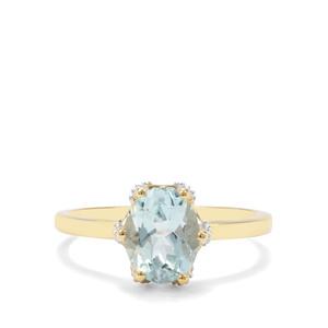 Madagascan Aquamarine & White Diamond 9K Gold Ring ATGW 1.75cts
