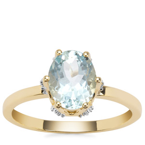 Madagascan Aquamarine Ring with White Diamond in 9K Gold 1.75cts