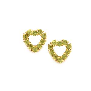 1.08ct Ambanja Demantoid Garnet 9K Gold Earrings