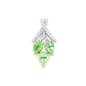 Paraiba Tourmaline Pendant with Diamond in 18K Gold 1.14cts