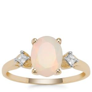Ethiopian Opal Ring with White Zircon in 9K Gold 1.19cts