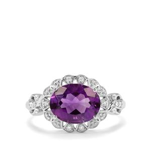 Moroccan Amethyst & White Zircon Sterling Silver Ring ATGW 2.30cts