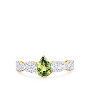 Nigerian Sapphire Ring with Diamond in 18K Gold 1.30cts