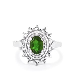 Chrome Diopside Ring with White Topaz in Sterling Silver 1.67cts
