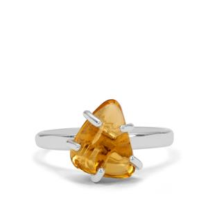 4.50ct Organic Shape Diamantina Citrine Sterling Silver Aryonna Ring