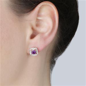 Amethyst Earrings with Diamond in Rose Gold Vermeil 1.38cts