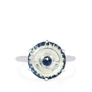 White Quartz & Blue Sapphire 9K White Gold Wheel of Light Ring ATGW 5.70cts