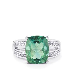 Tucson Green Fluorite & White Topaz Sterling Silver Ring ATGW 6.49cts
