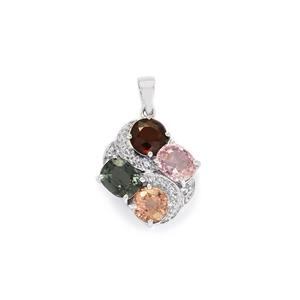 Burmese Multi-Colour Spinel Pendant with White Topaz in Sterling Silver 5.47cts