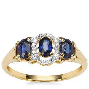 Sri Lankan Sapphire Ring with Diamond in 9K Gold 0.87ct