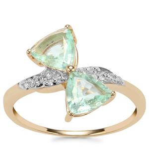 Paraiba Tourmaline Ring with Diamond in 9K Gold 1.18cts