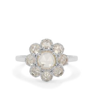 1.71ct Rose Cut Plush Diamond Sunstone Sterling Silver Ring