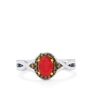 Malagasy Ruby Ring with Champagne Diamond in Sterling Silver 1.40cts (F)