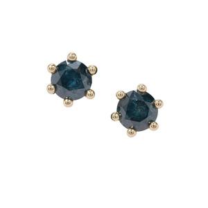 Blue Diamond Earrings in 9K Gold 1cts