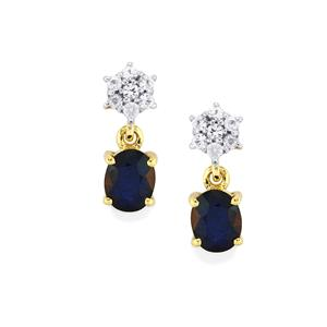 Sri Lankan Sapphire Earrings with White Sapphire in 10k Gold 1.11cts