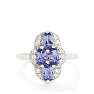 AA Tanzanite & White Topaz Sterling Silver Ring ATGW 1.60cts