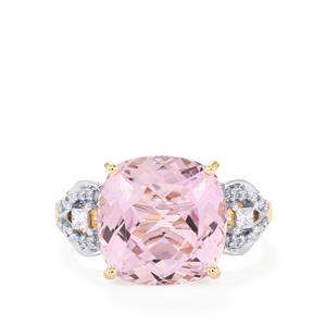 Mawi Kunzite Ring with Diamond in 18k Gold 9.08cts