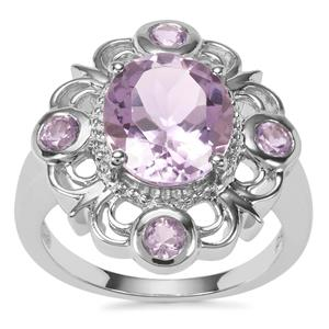 Rose De France Amethyst Ring in Sterling Silver 4.02cts
