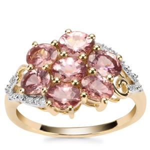 Mahenge Pink Spinel Ring with Diamond in 10K Gold 2.53cts