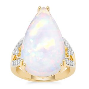 Ethiopian Opal Ring with Diamond in 18K Gold 11.25cts