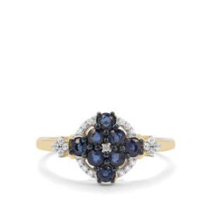 Nigerian Blue Sapphire & White Zircon 9K Gold Ring ATGW 0.84ct
